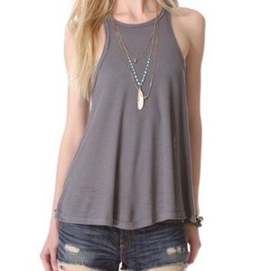 Free People Tops - Free People Gray Ribbed Swing Racerback Tank Top S